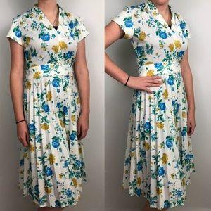 Vintage Retro Fit & Flare Midi Dress Blue White